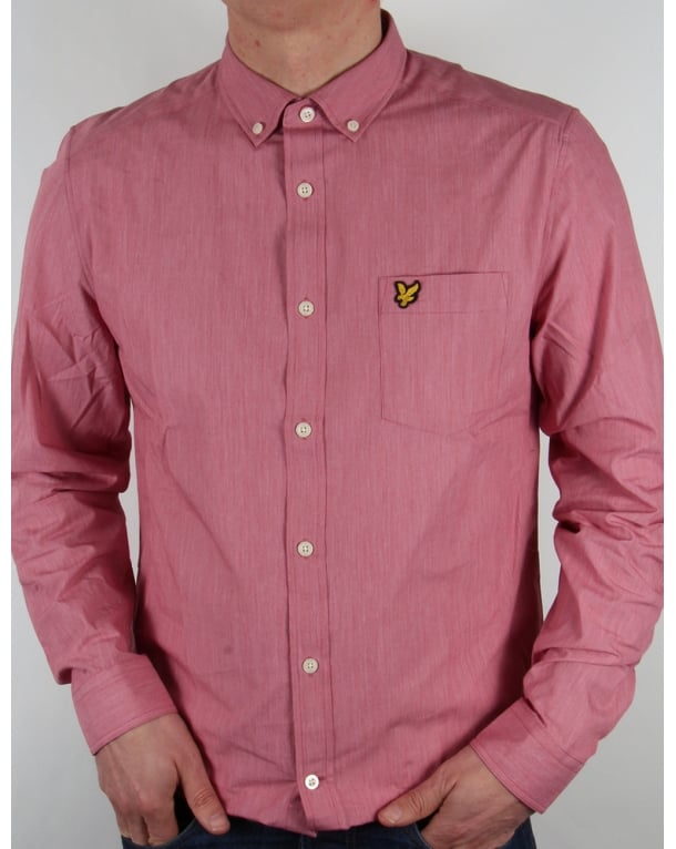 Lyle And Scott End On End Long Sleeve Shirt Ruby