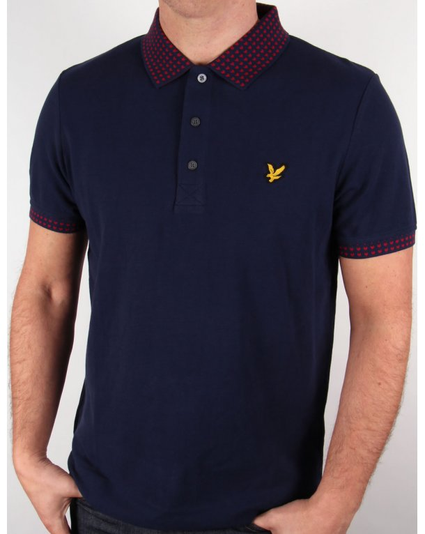 Lyle And Scott Fairisle Collar Polo Shirt Navy Blue,mens,cotton ...