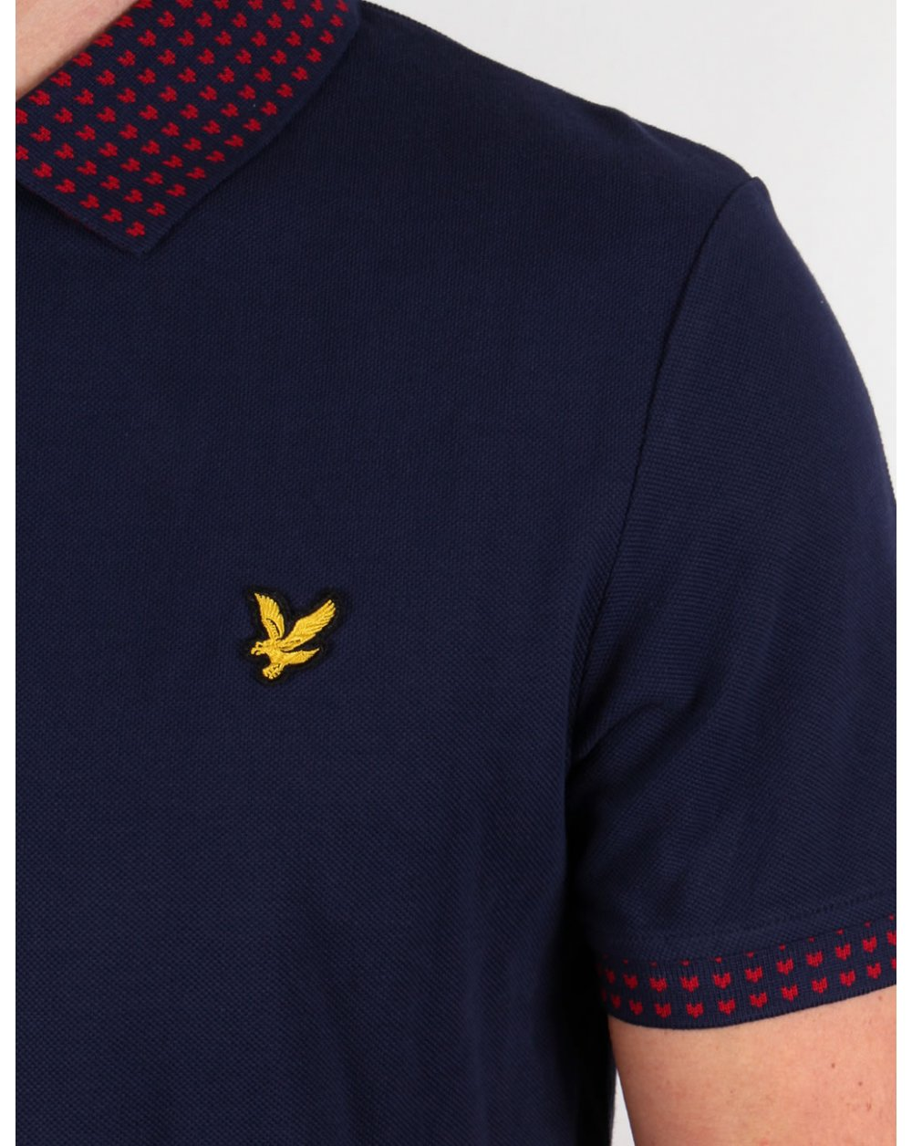 lyle and scott fairisle collar polo shirt navy blue mens cotton contrast. Black Bedroom Furniture Sets. Home Design Ideas