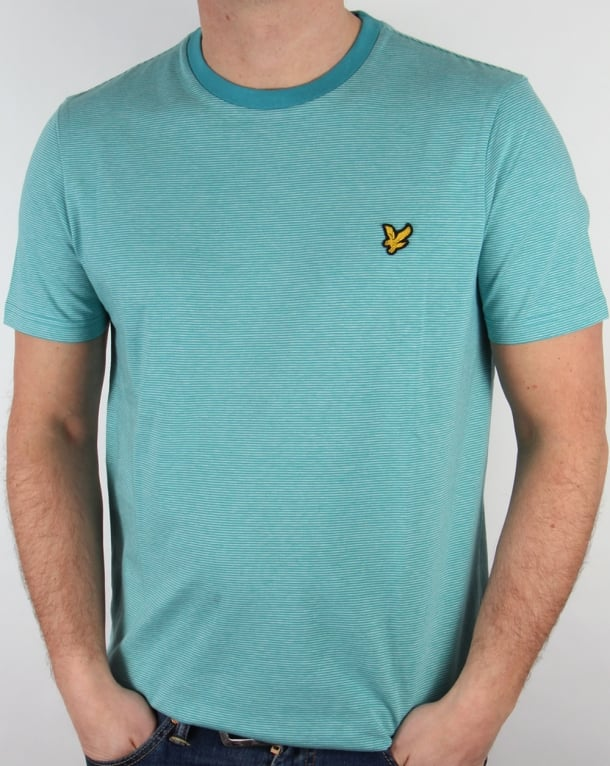 Lyle And Scott Fine Stripe T-shirt Pagoda Blue