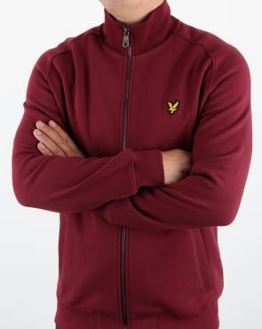 Lyle And Scott Funnel Neck Zip Through Sweatshirt Claret