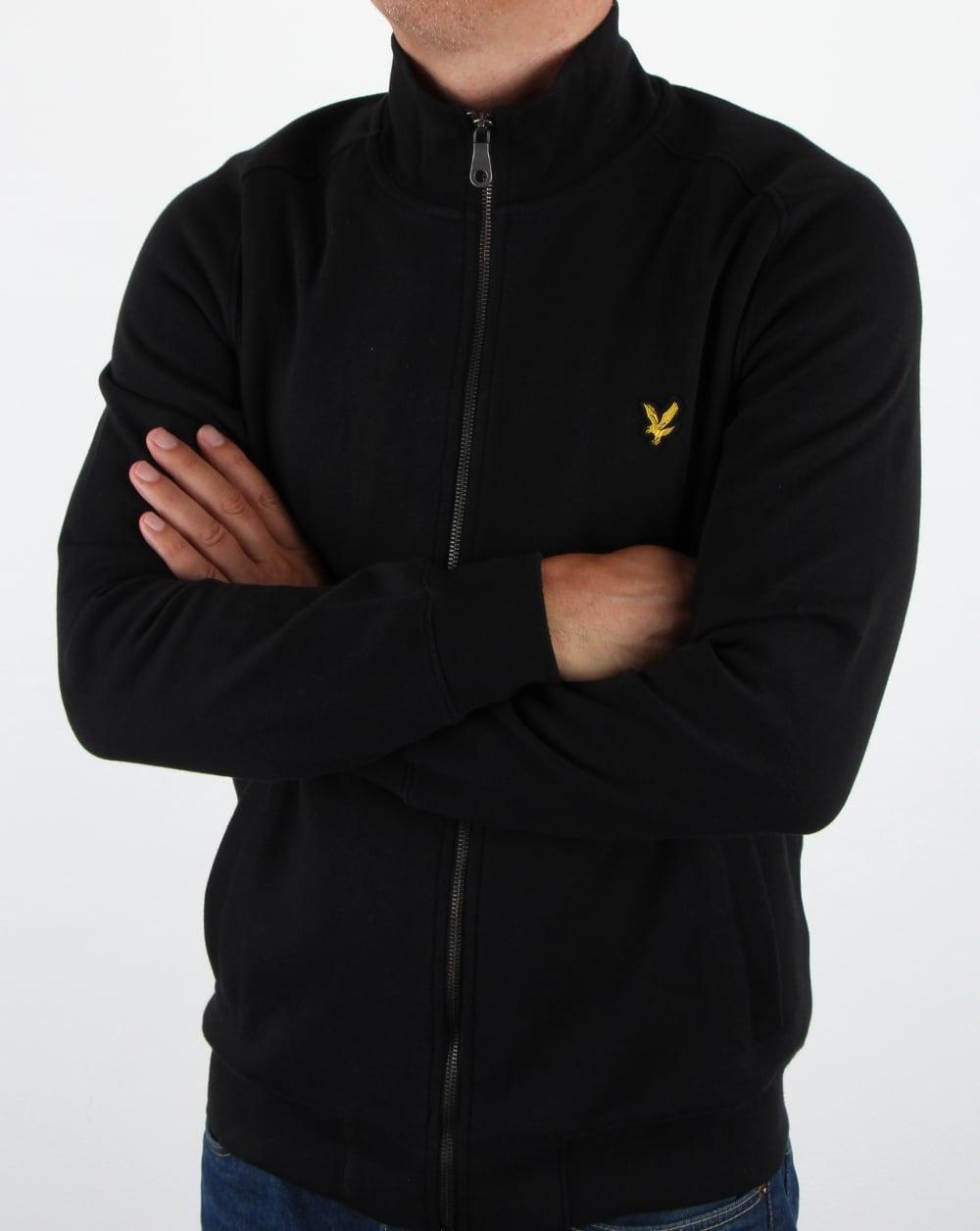 lyle and scott funnel neck zip through sweatshirt true black track top. Black Bedroom Furniture Sets. Home Design Ideas