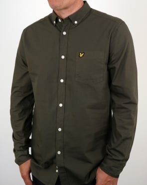 Lyle And Scott Garment Dye Shirt Olive