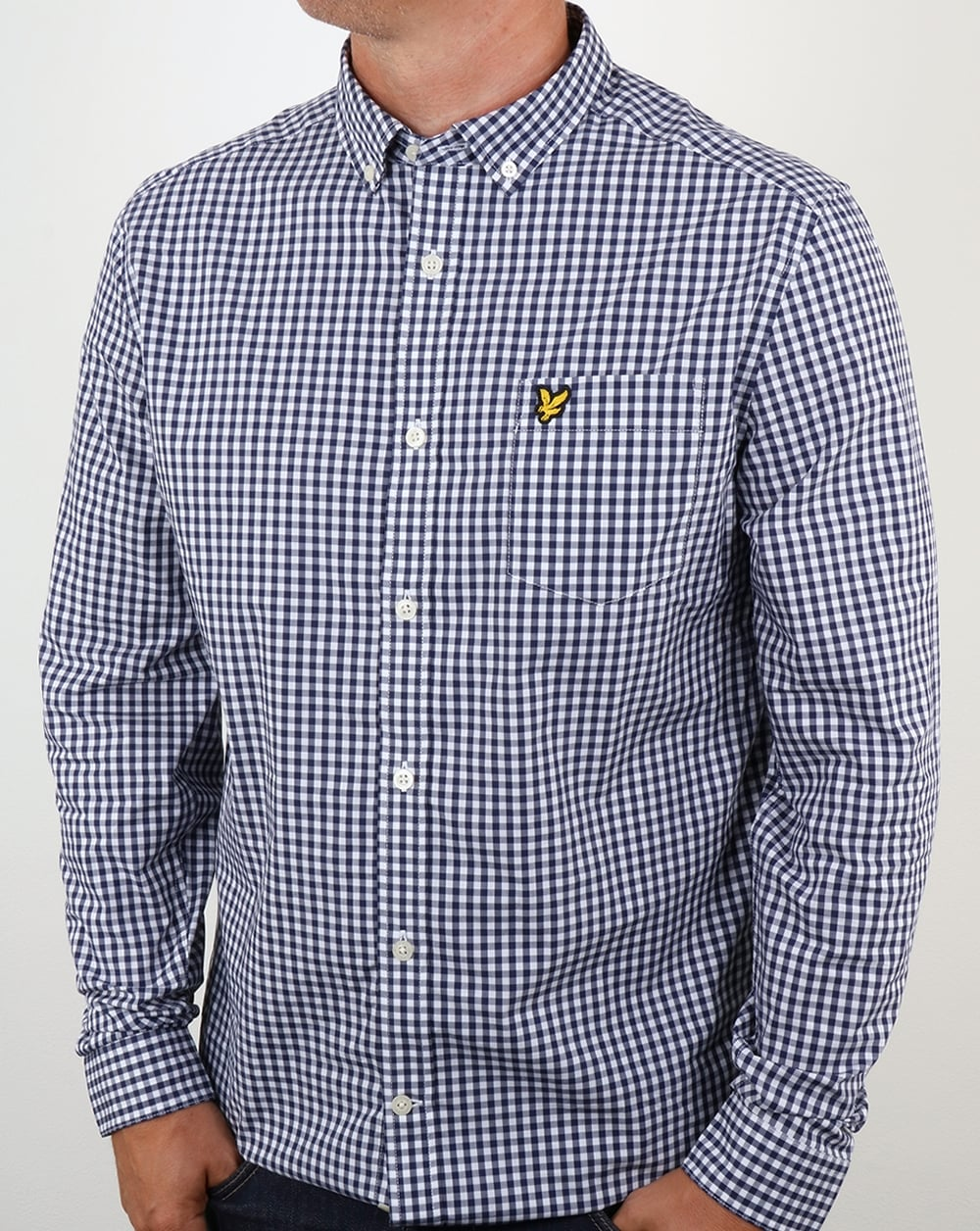 Lyle and scott gingham shirt navy long sleeve button down for Lyle and scott shirt sale
