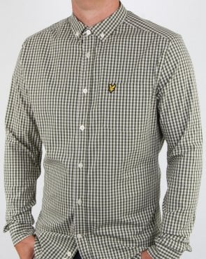 Lyle And Scott Gingham Shirt Woodland Green