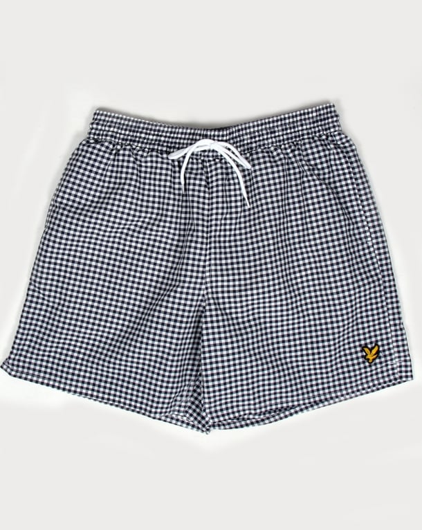 Lyle And Scott Gingham Swim Shorts Navy