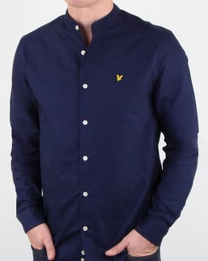 Lyle And Scott Grandad Collar Shirt Navy