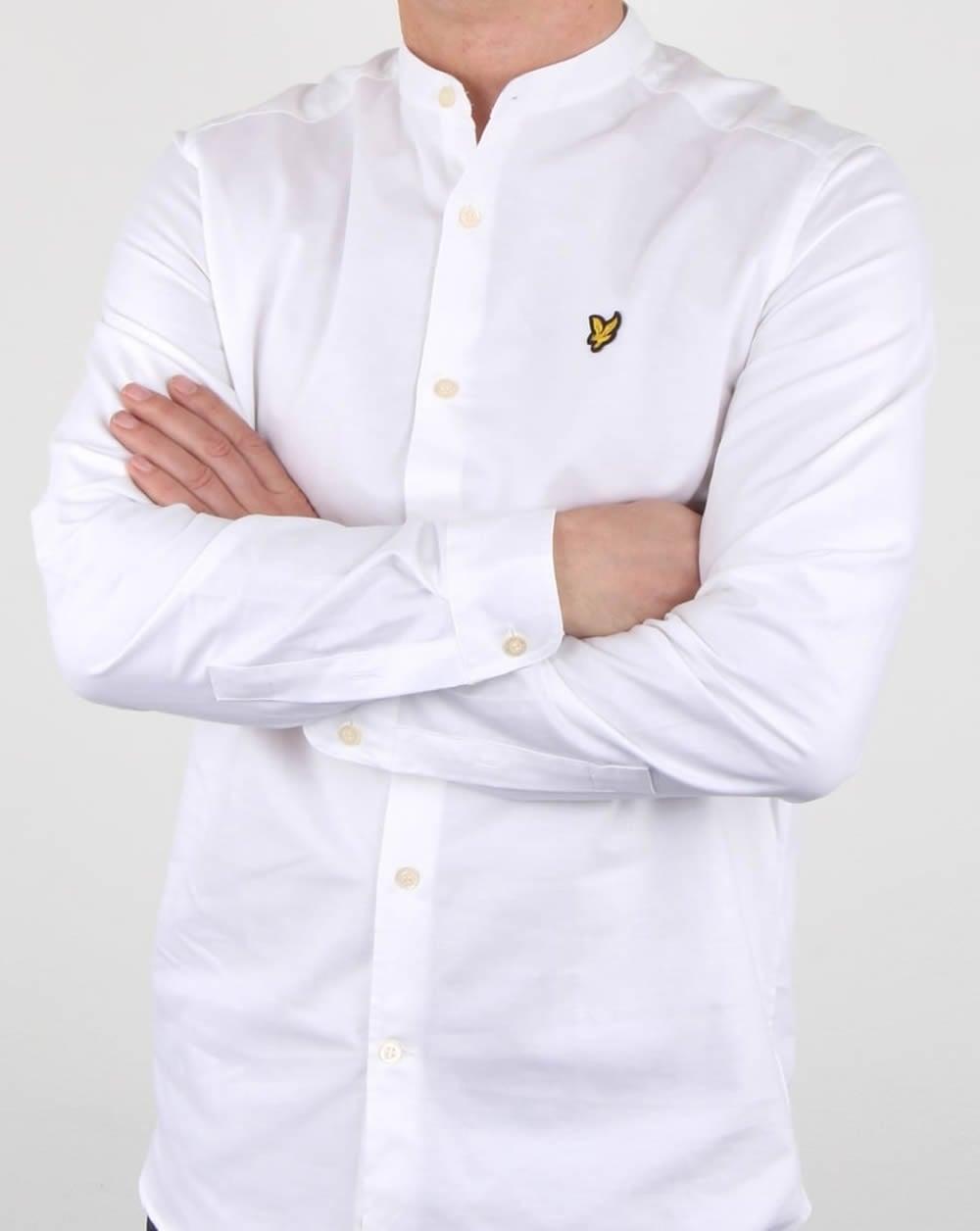 Lyle and scott grandad collar shirt white mens long for Lyle and scott shirt sale