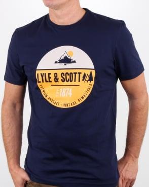 Lyle And Scott Graphic Print T Shirt Navy