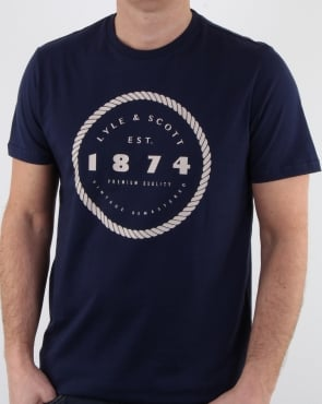 Lyle And Scott Graphic Print T Shirt Navy