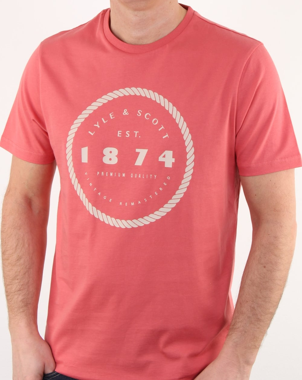 Lyle and scott graphic print t shirt sunset pink mens for Graphic print t shirts