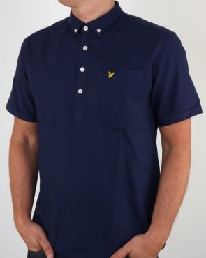 Lyle And Scott Half Button Shirt Navy