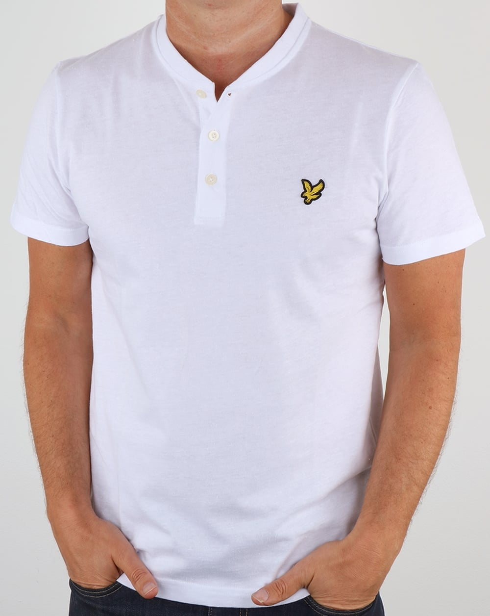 Lyle and scott henley t shirt white tee crew neck grandad mens for Lyle and scott shirt sale