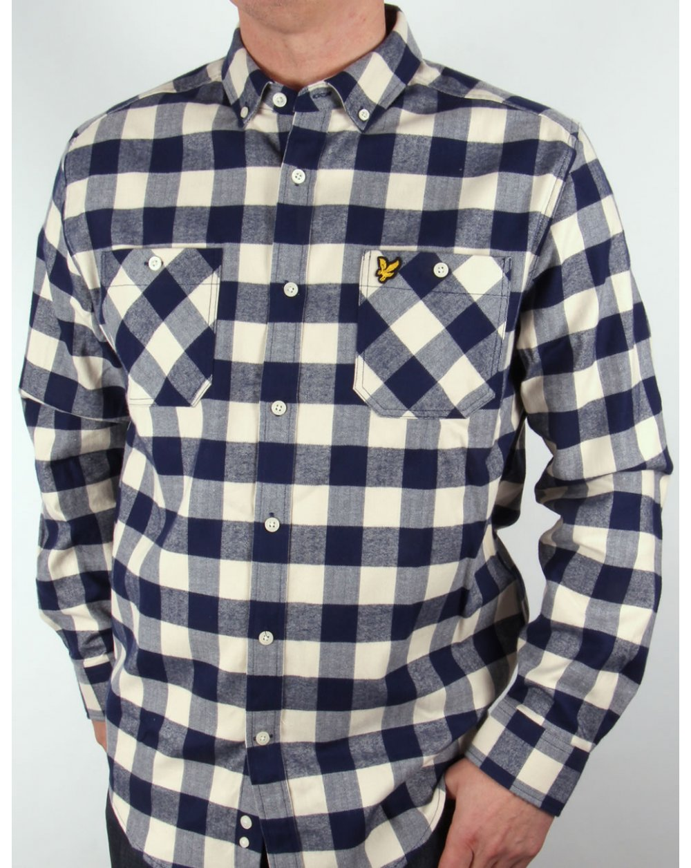 c1ed42cea57f Lyle and Scott Lyle And Scott Herringbone Check Flannel Over Shirt  Ivory navy