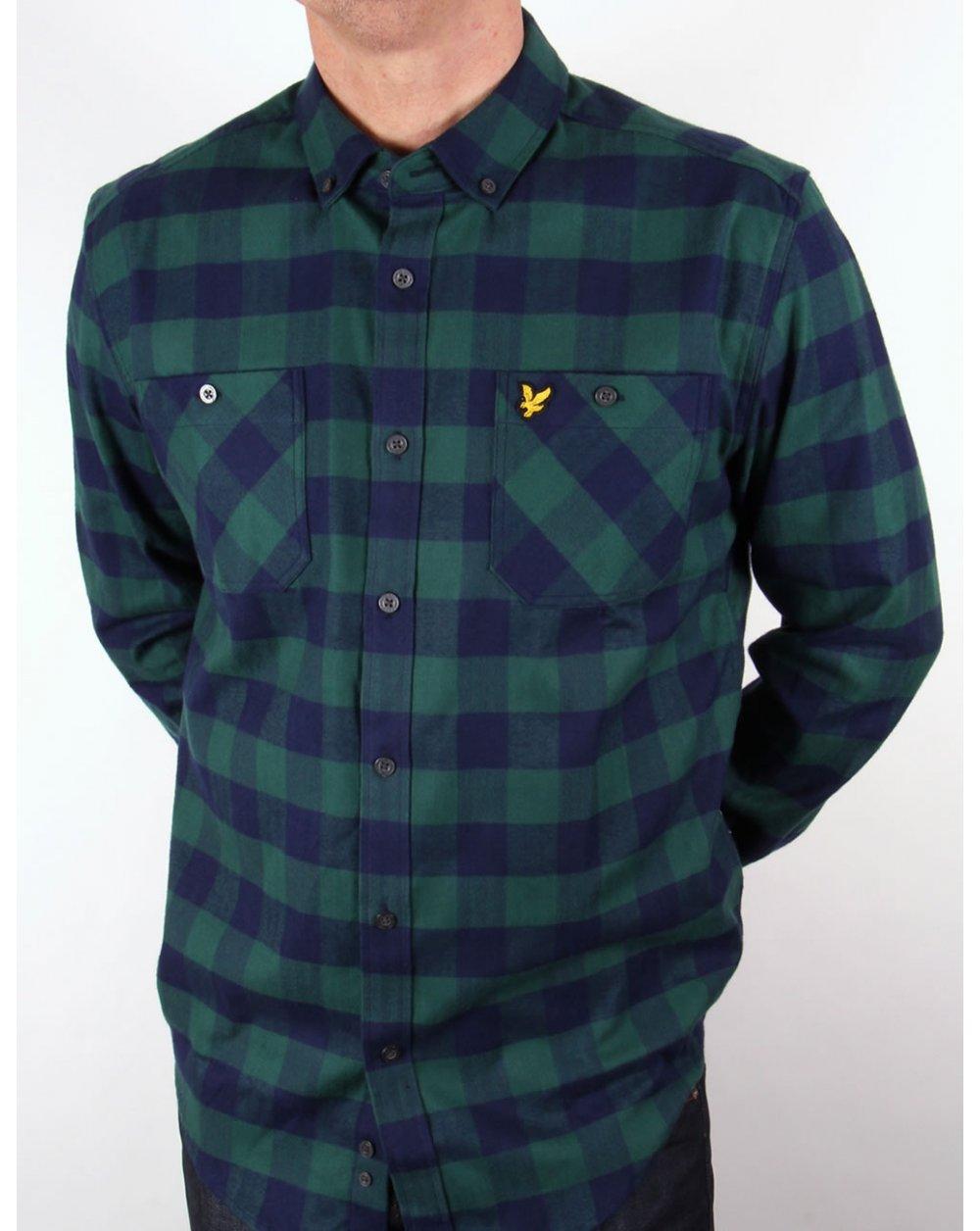 Lyle And Scott Herringbone Check Flannel Over Shirt Sea