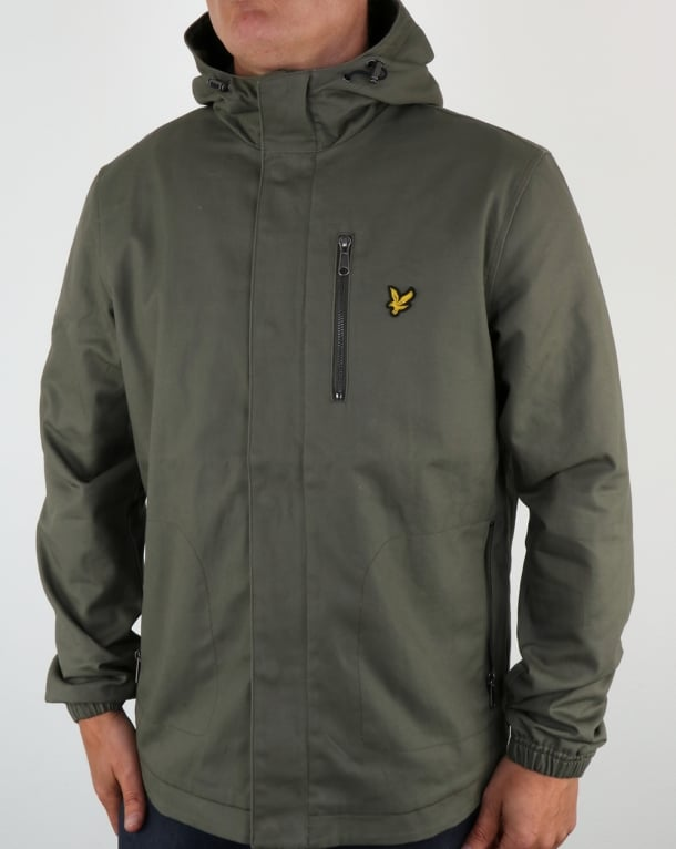 Lyle And Scott Hooded Curved Hem Jacket Dusty Olive