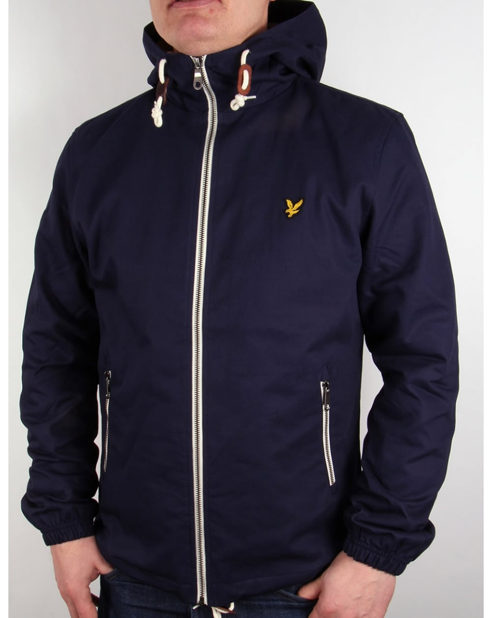 lyle and scott hooded twill jacket navy parka coat mens. Black Bedroom Furniture Sets. Home Design Ideas