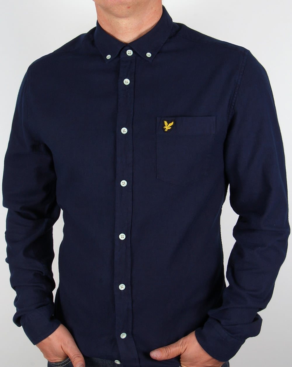 lyle and scott indigo oxford shirt dark indigo mens smart. Black Bedroom Furniture Sets. Home Design Ideas