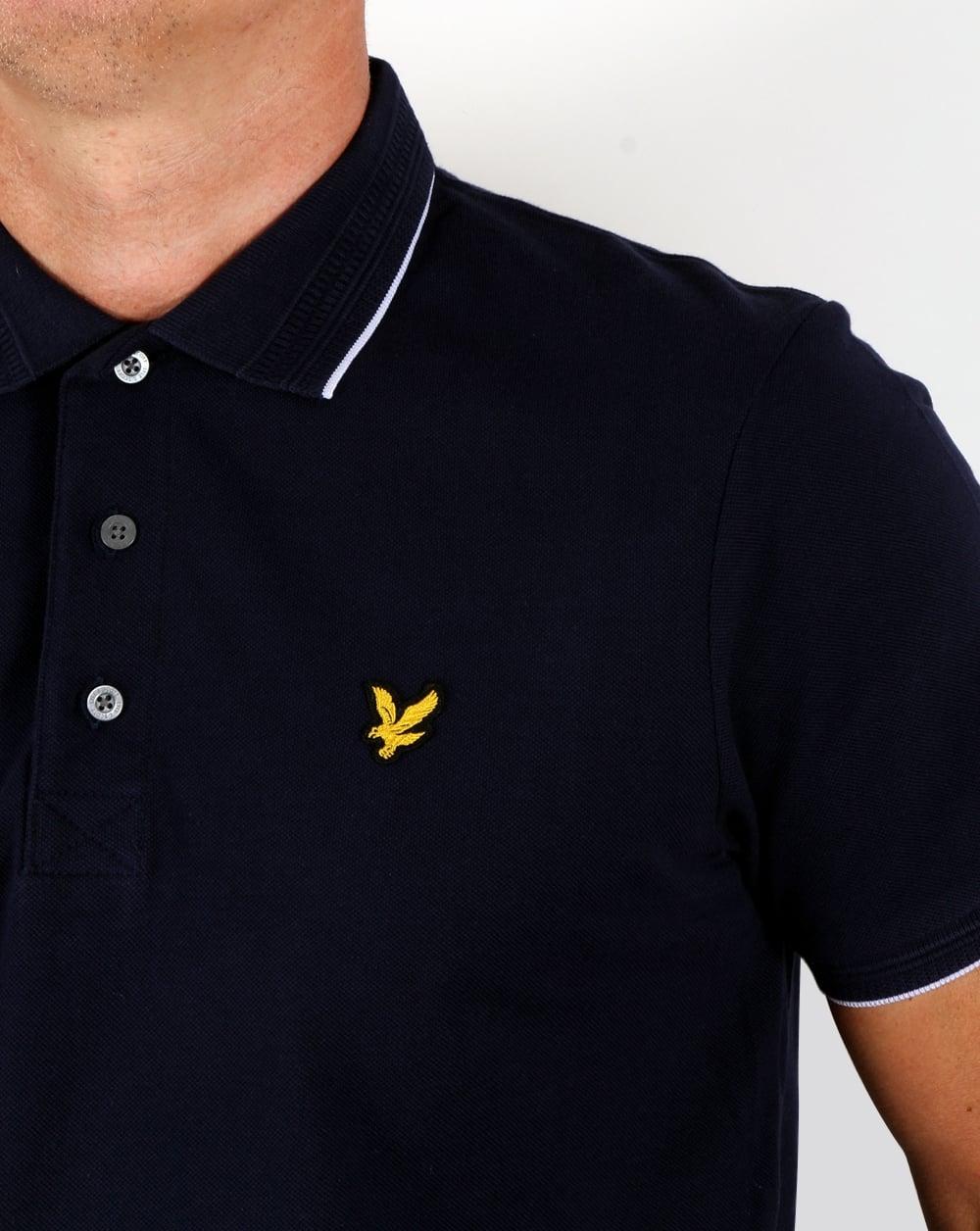 Lyle And Scott Jacquard Collar Polo Shirt Navy Men 39 S
