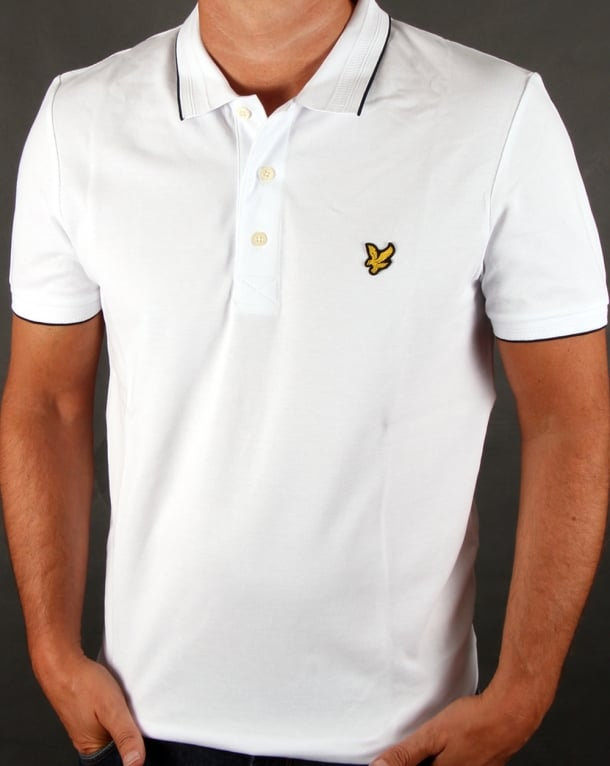 Lyle And Scott Jacquard Collar Polo Shirt White