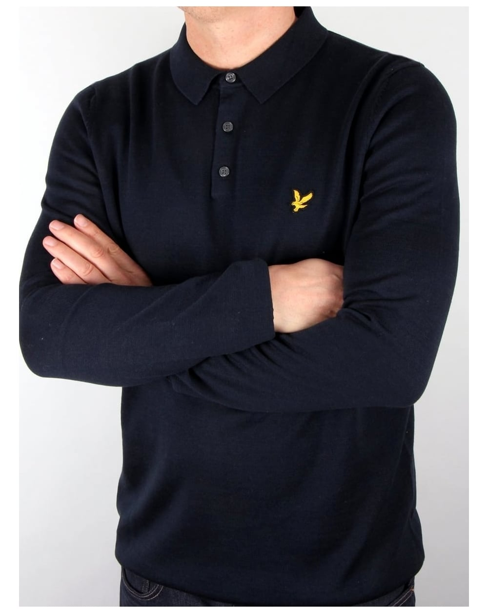 lyle and scott knitted long sleeve polo shirt navy mens. Black Bedroom Furniture Sets. Home Design Ideas