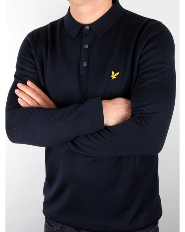 Lyle And Scott Knitted Long Sleeve Polo Shirt Navy
