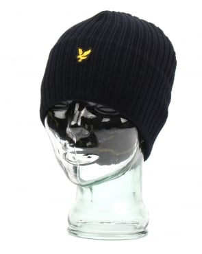 Lyle And Scott Knitted Rib Beanie New Navy