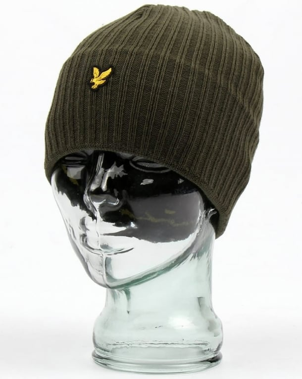 Lyle and Scott Knitted Rib Beanie Olive