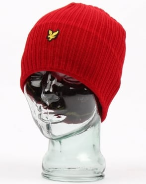 Lyle And Scott Knitted Rib Beanie Red Marl