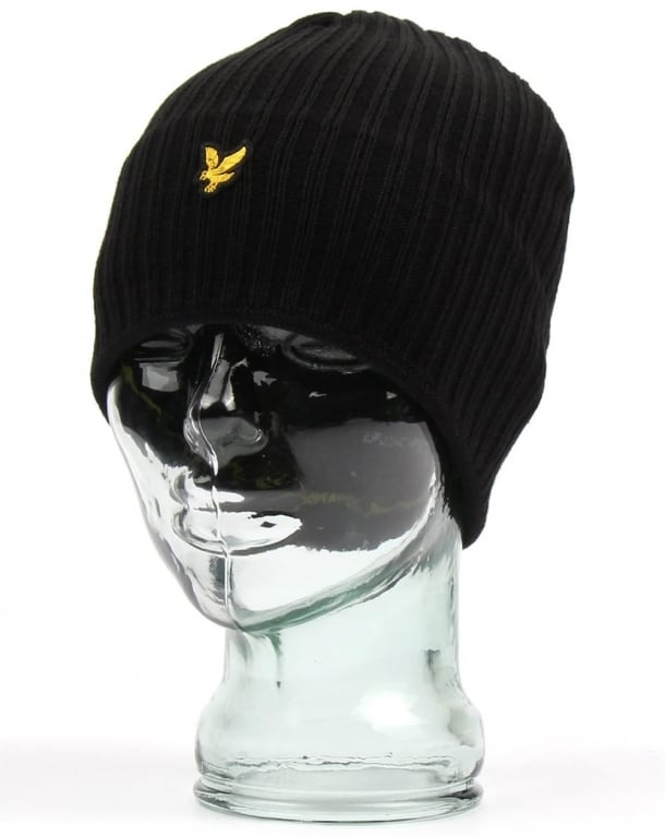 Lyle and Scott Knitted Rib Beanie True Black