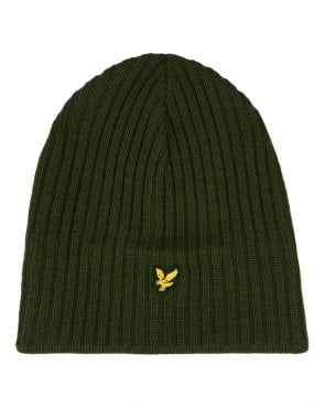 Lyle And Scott Knitted Rib Beanie Woodland Green