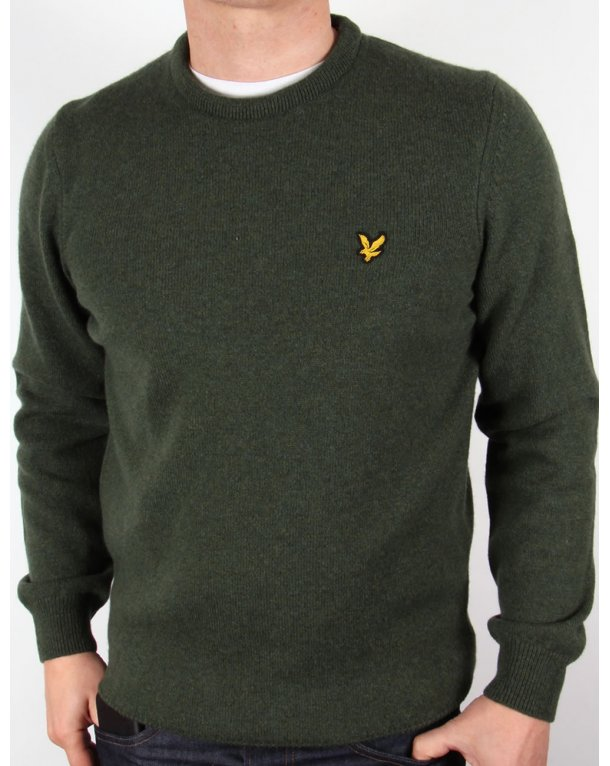 Lyle And Scott Lambswool Crew Neck Jumper Dark Sage