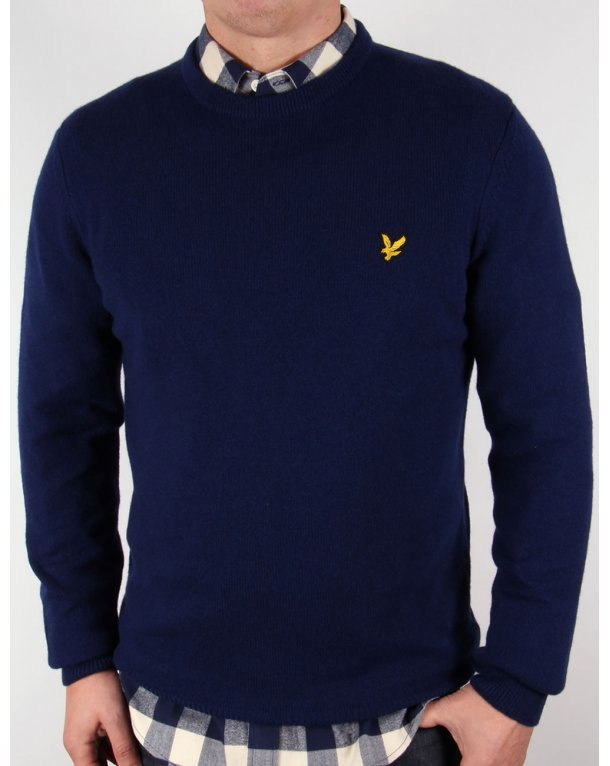 Lyle And Scott Lambswool Crew Neck Jumper Navy Blue