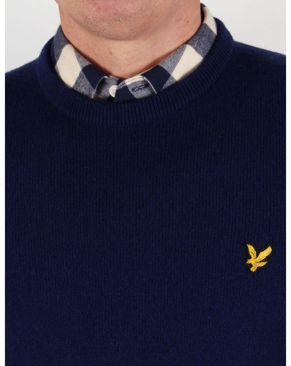 lyle and scott lambswool crew neck jumper navy sweater knit mens. Black Bedroom Furniture Sets. Home Design Ideas