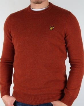 Lyle And Scott Lambswool Jumper Burnt Redwood