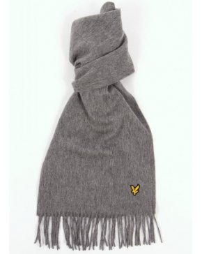 Lyle And Scott Lambswool Scarf Mid Grey Marl
