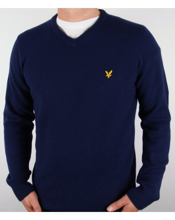 Lyle And Scott Lambswool V Neck Jumper Admiral Blue