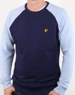 Lyle And Scott Lightweight Raglan Sweatshirt Stonewash Blue