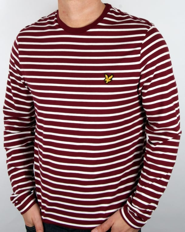 Lyle And Scott Long Sleeve Breton Stripe T-shirt Claret Jug