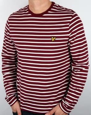 Lyle And Scott Long Sleeve Breton Stripe T-shirt Claret Jug