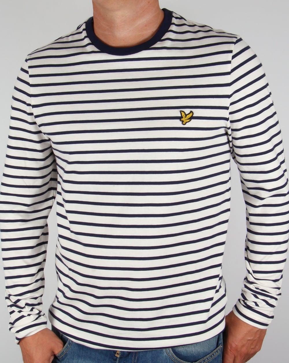 lyle and scott long sleeve breton stripe t shirt off white tee men 39 s crew neck. Black Bedroom Furniture Sets. Home Design Ideas