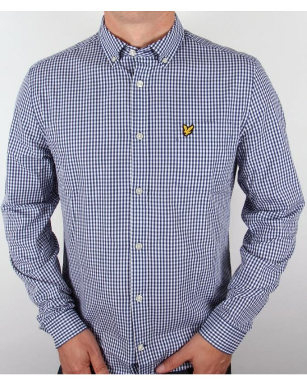Lyle And Scott Long Sleeve Gingham Shirt Admiral Blue