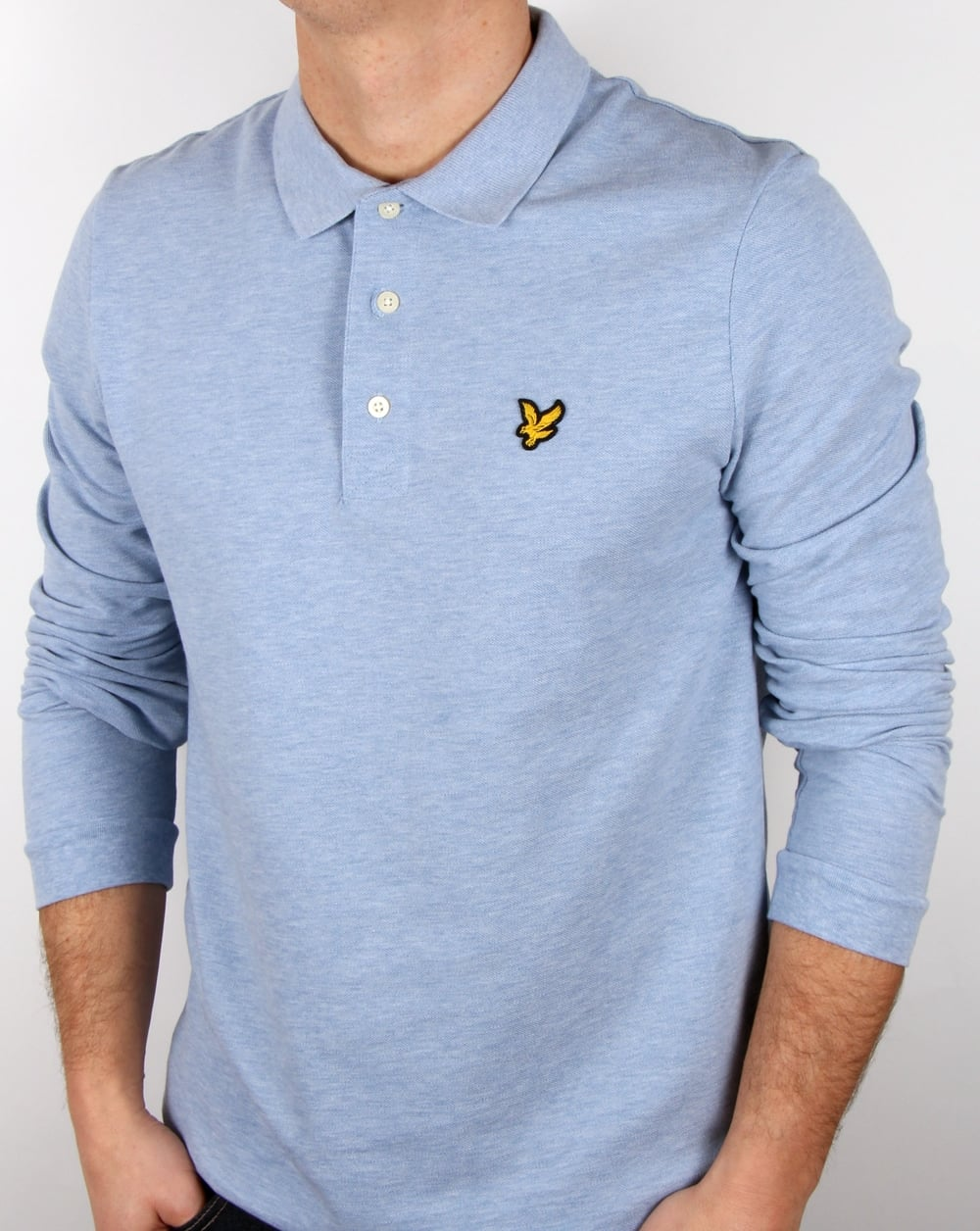 lyle and scott long sleeve polo shirt blue marl men 39 s pique cotton. Black Bedroom Furniture Sets. Home Design Ideas