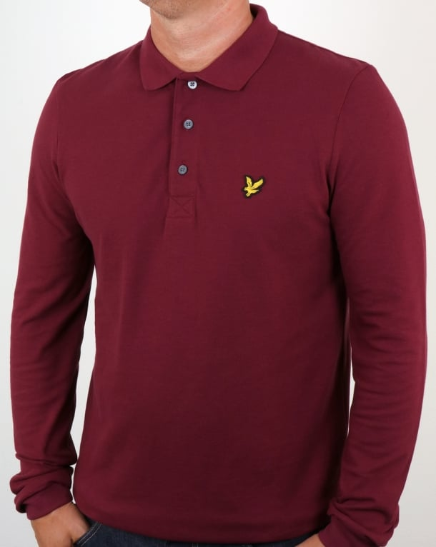 Lyle And Scott Long Sleeve Polo Shirt Claret