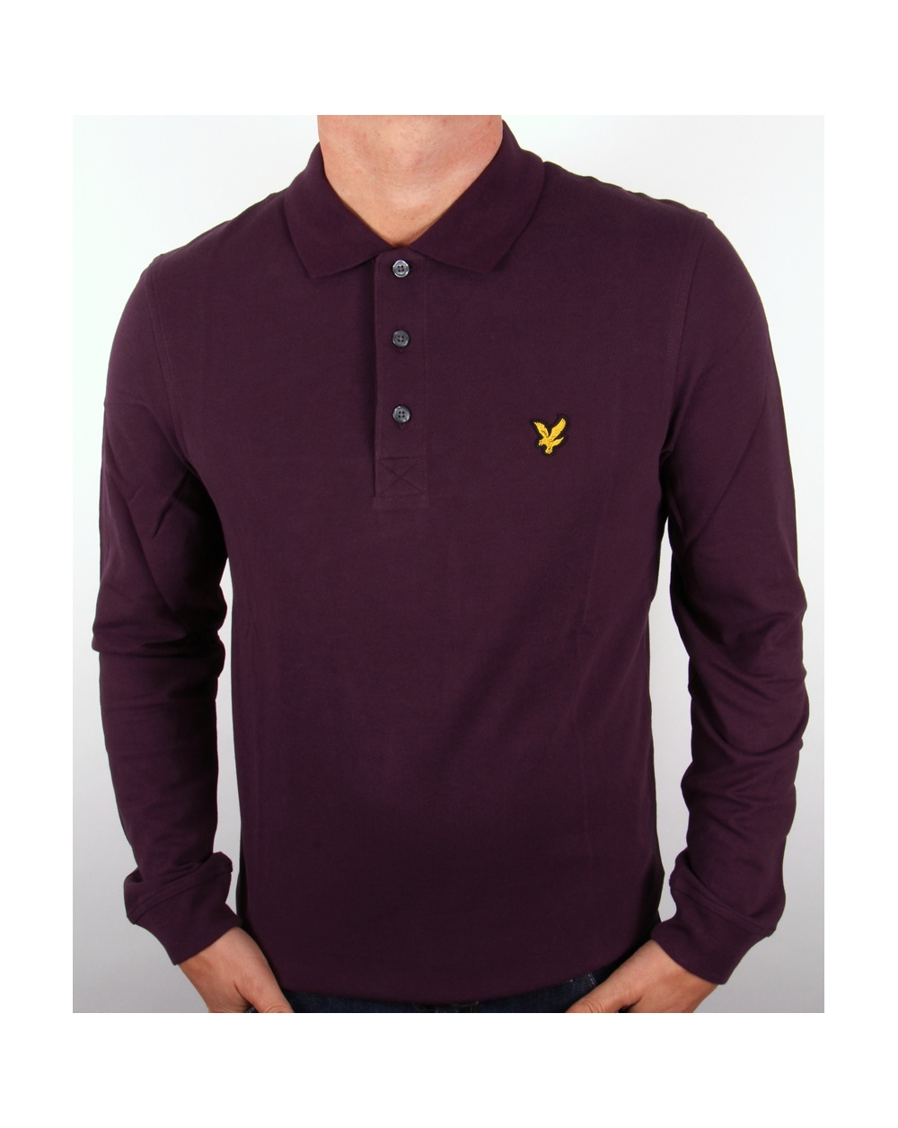 lyle and scott long sleeve polo shirt deep plum mens. Black Bedroom Furniture Sets. Home Design Ideas