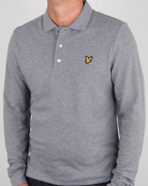 Lyle And Scott Long Sleeve Polo Shirt Mid Grey Marl