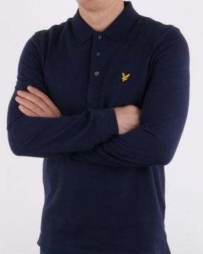 Lyle And Scott Long Sleeve Polo Shirt Navy