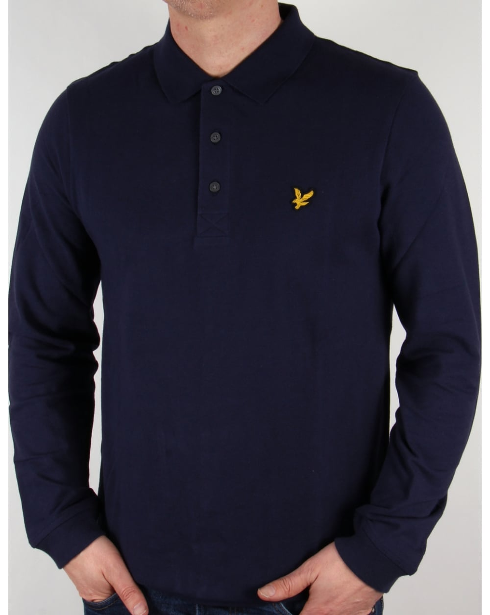 lyle and scott long sleeve polo shirt navy mens lyle scott. Black Bedroom Furniture Sets. Home Design Ideas