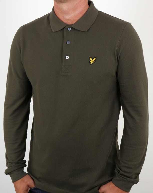 Lyle And Scott Long Sleeve Polo Shirt Olive