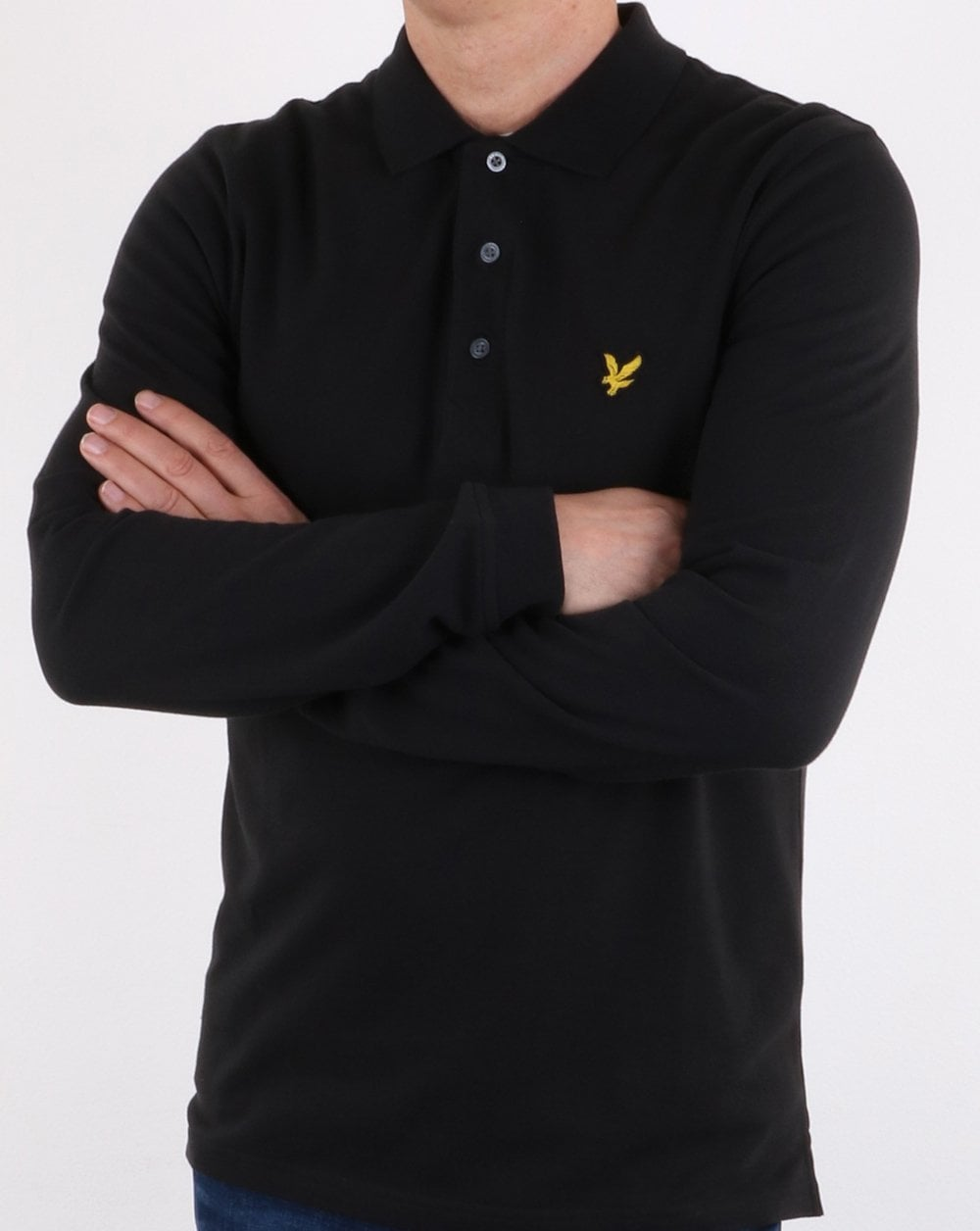 lyle and scott long sleeve polo shirt true black 80s casual classics. Black Bedroom Furniture Sets. Home Design Ideas